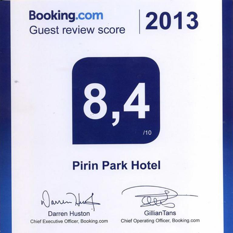 Парк Хотел Пирин получи сертификат от Booking.com