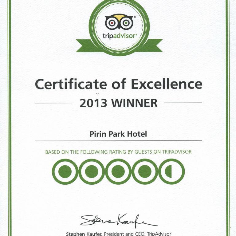 Парк Хотел Пирин получи сертификат от TripAdvisor